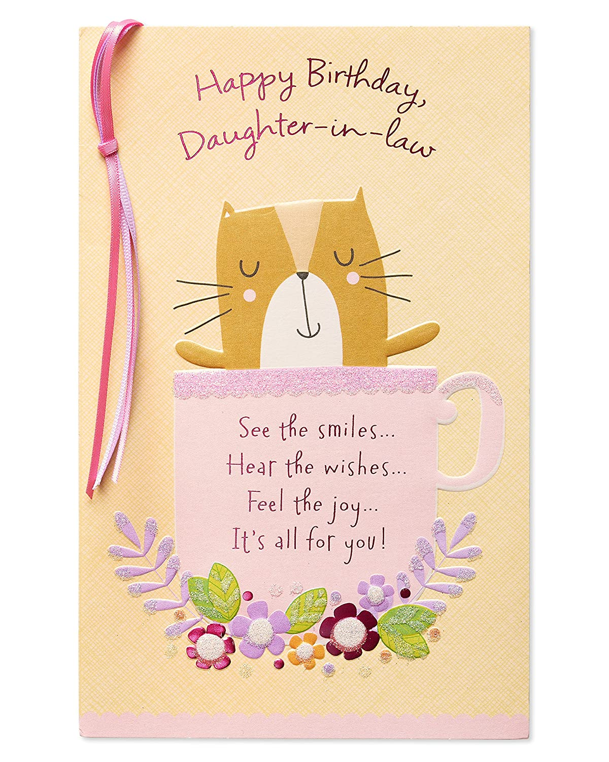Amazon Cat Birthday Card For Daughter In Law With Glitter Office Products