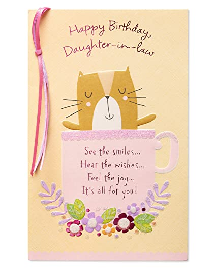 Image Unavailable Not Available For Color Cat Birthday Card Daughter In Law With Glitter
