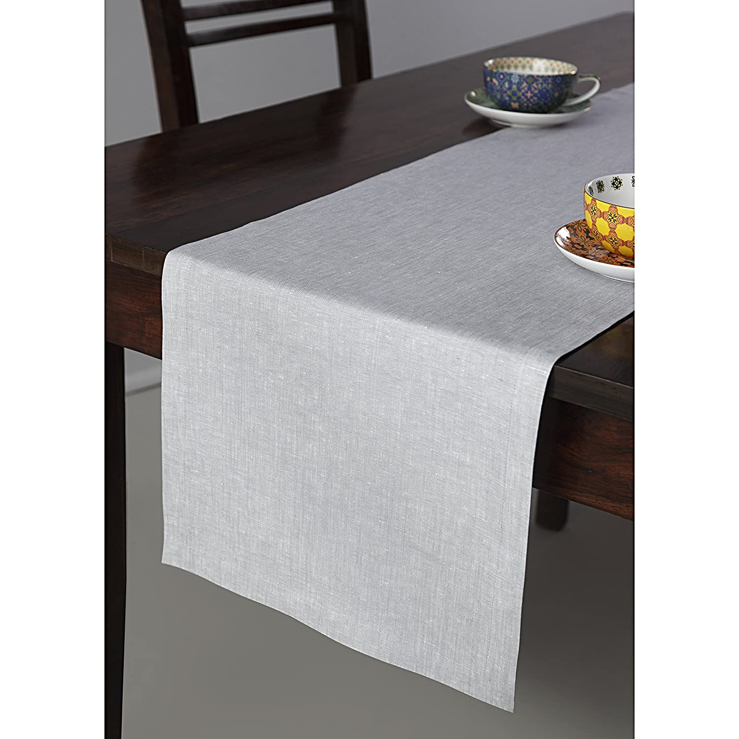 Handcrafted Pure Natural Linen Fabric Table Runner - ChristmasTablescapeDecor.com