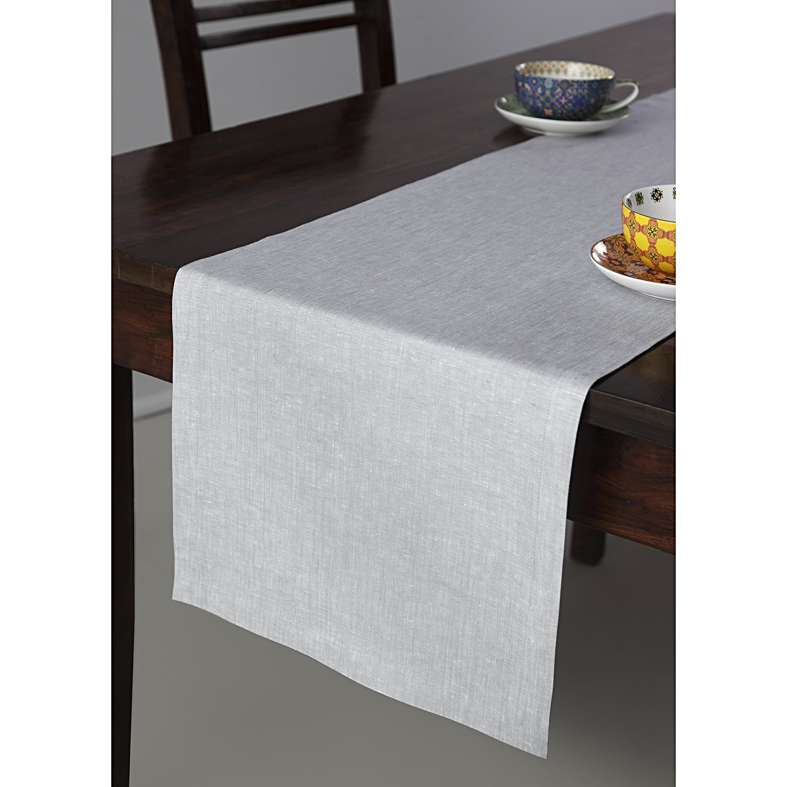 Solino Home 100% Pure Linen Table Runner Tesoro, 14 x 120 Inch Light Graphite, Natural Fabric and Handcrafted