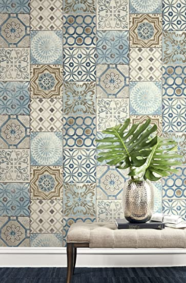 Moroccan Style Mosaic Wallpaper In Blue Copper Gray