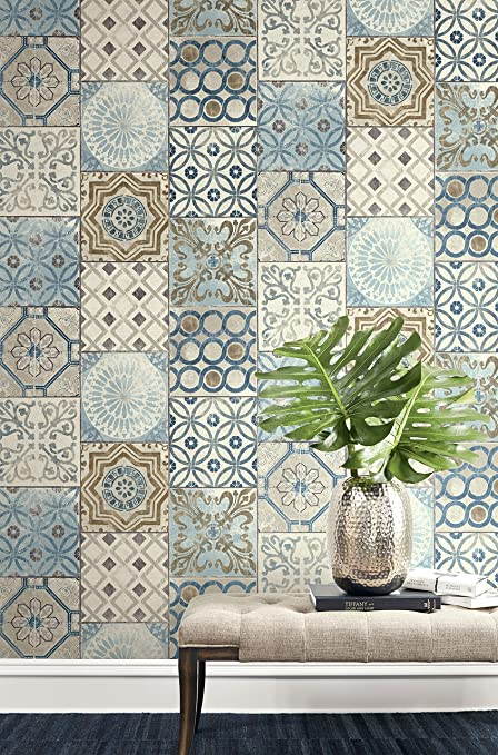 Moroccan Style Mosaic Wallpaper In Blue (Blue, Copper U0026 Gray)