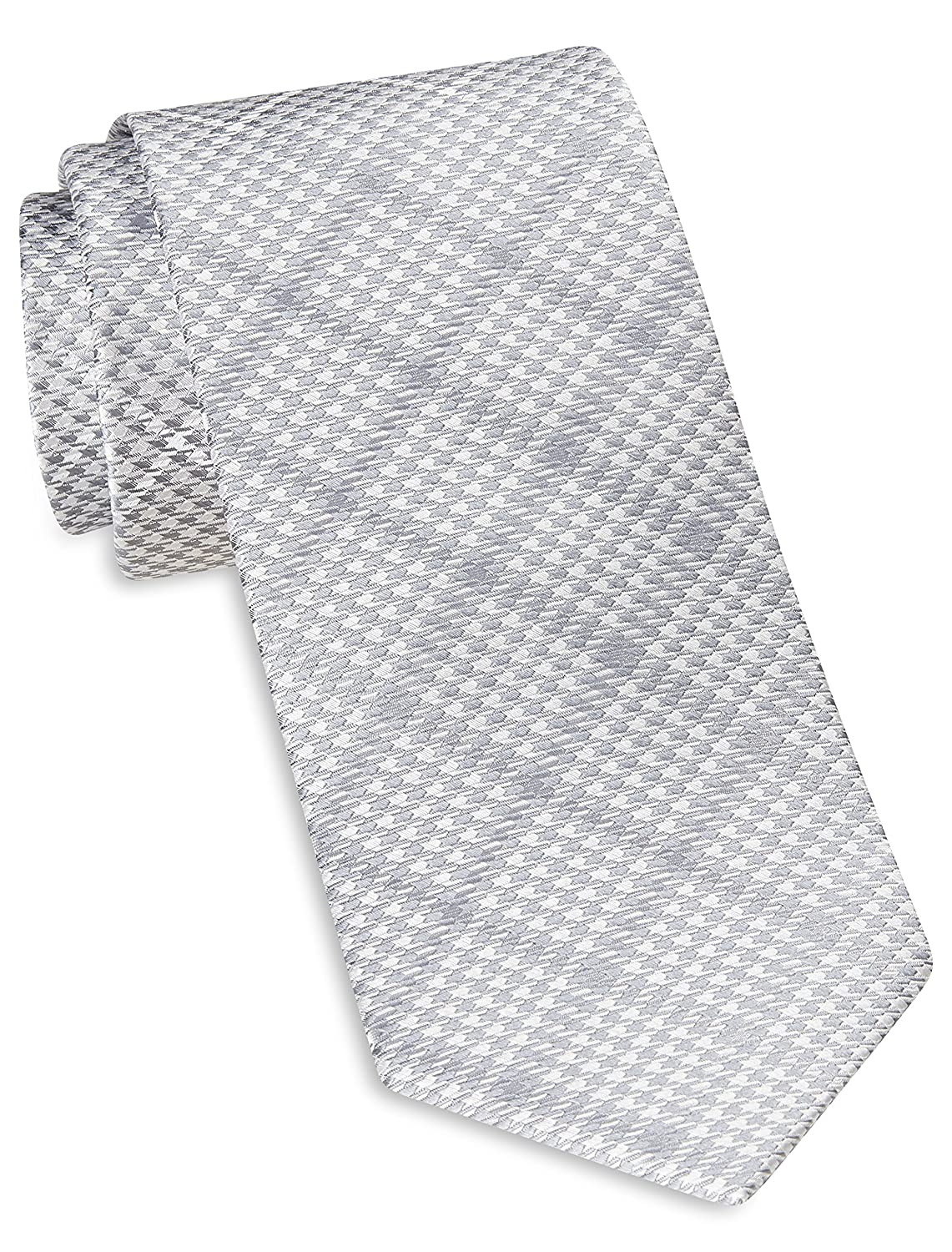 Rochester by DXL Designed in Italy Tonal Houndstooth Windowpane Plaid Silk Tie