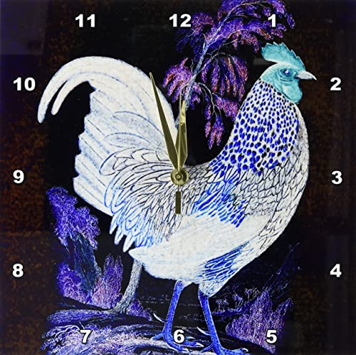 3dRose DPP_108275_1 The Chicken in The Purple Forest Digital Art by Angelandspot-Wall Clock, 10 by 10-Inch