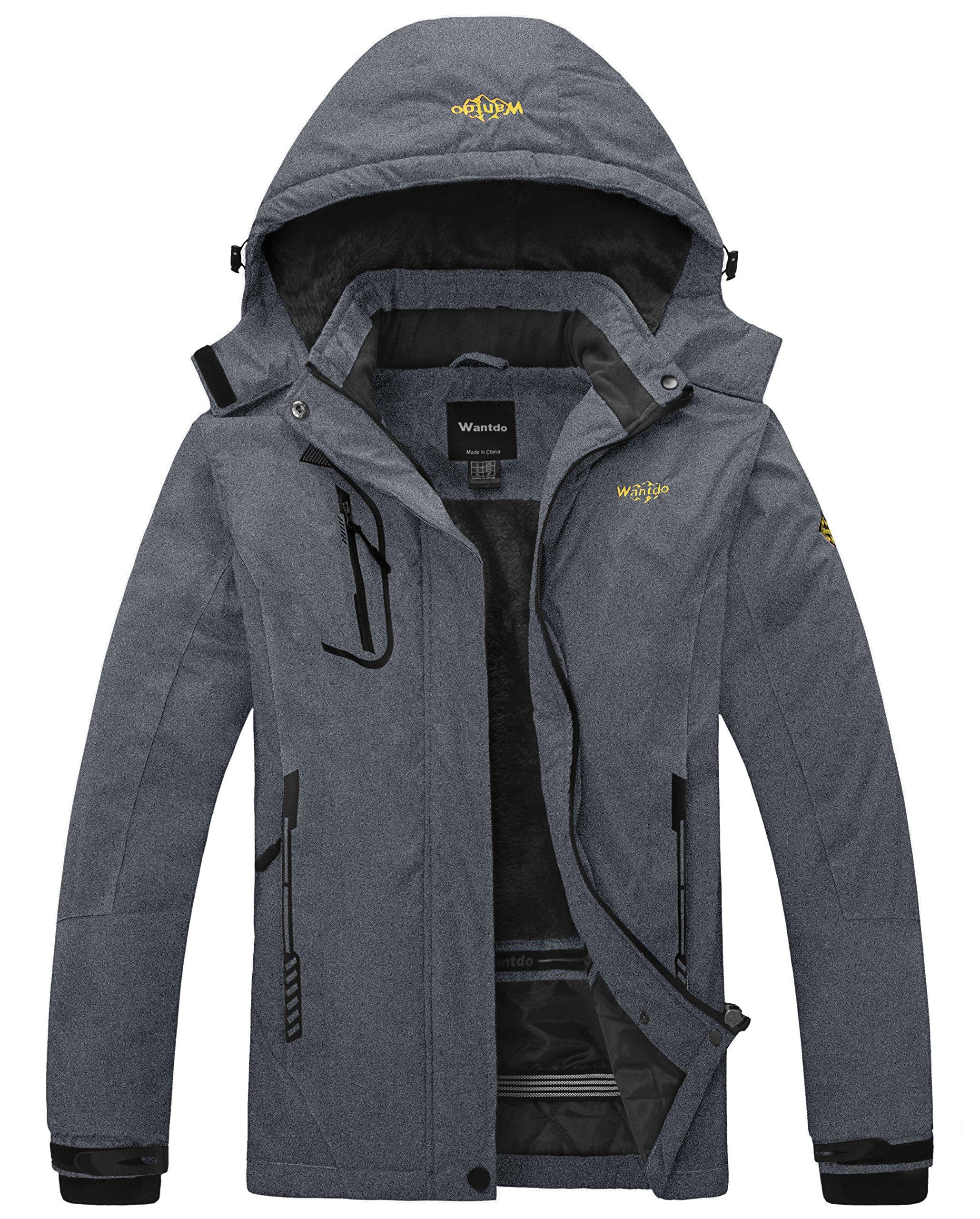 Wantdo Women's Waterproof Mountain Jacket Fleece Windproof Ski Jacket Snowboarding Jacket (US S) Dark Grey