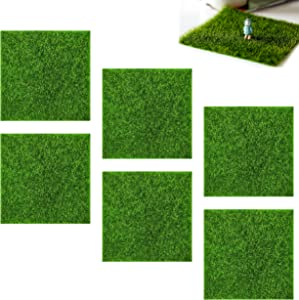 inheming 6 Pieces Fairy Garden Artificial Grass Lawn 6x6in, Realistic-Looking, Soft and No Smell, Easy to Cut