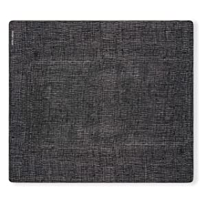 modern-twist Linen Print Placemat 100% plastic free silicone, waterproof, adjustable, dishwasher safe, Rectangle, Black