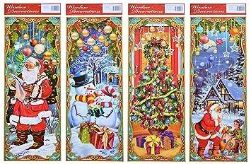 Winterliche Weihnachtsbilder.4er Set Große Längliche Weihnachtsbilder Weihnachtliche Fensterbilder Weihnachtsdeko Fensterdekoration Kinderzimmerdeko Wiederverwendbar