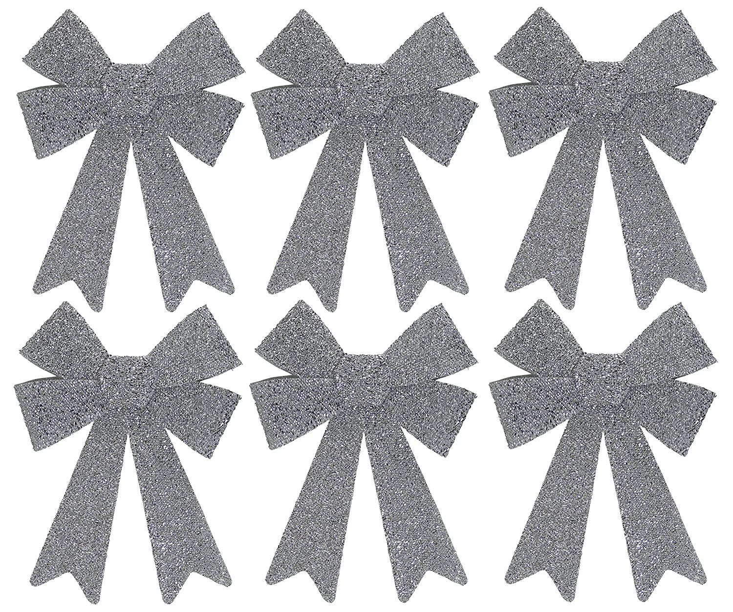 Iconikal 8.7 x 12.6 Inch Decorative Holiday Christmas Glitter Bow - 6 Pack - Silver