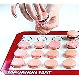 Bakeitfun Silicone Non-stick Multipurpose Kitchen Tool, Microwave and Dishwasher Safe Macaron Mat with 28 Macaron Spaces, Standard,  Macaron Raspberry Red