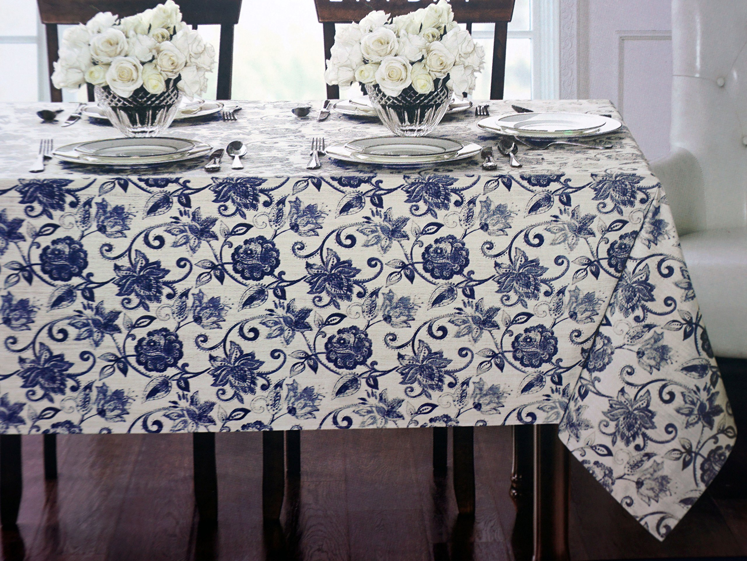 Classical Jacobean Floral Pattern Indigo Blue on Cream, Waterford Linens Fabric Everyday Tablecloth -- Hickory, Indigo -- 70 Inches Round by Waterford Linens