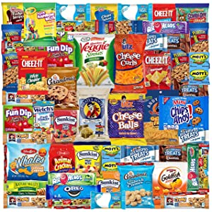 Care Package (52 Count) Ultimate Sampler Mixed Box, Cookies Chips Candy Snacks Box for Office Meetings Schools Friends & Family Military College, Christmas Gifts Basket, Snack Variety Pack