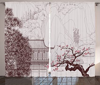 Ambesonne Asian Curtains Chinese Religion Temple Sakura Trees And Mountain Forms Pagoda Eastern Artwork Print