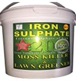 5KG IRON SULPHATE PREMIUM LAWN TONIC (Dilutes to 1,000-5,000 Litres) | 5KG tubs Sulphate of Iron Lawn Conditioner and Moss Killer | Dry Powder easily soluble in water | Superior Quality Premium Ferrous Lawn Conditioner, Fertiliser, Grass Greener & Turf Hardener | Long-Lasting Pure Lawn Tonic For A Healthier Looking Garden | Helps to Prevent Lawn Disease | LARGE 5KG SUPER VALUE TUB |