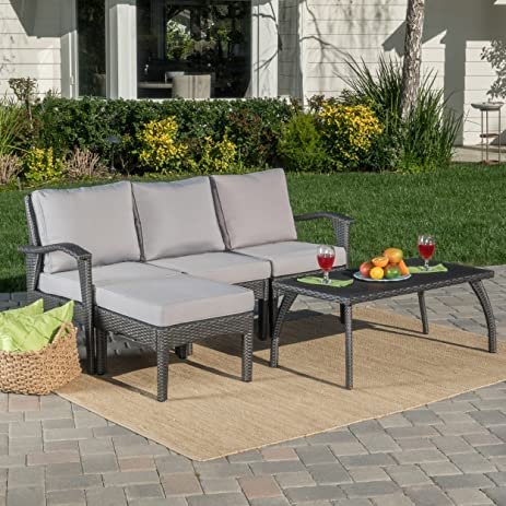 Maui Patio Furniture 5 Piece L Shaped Outdoor Wicker Sectional Sofa Set  (Grey / Silver