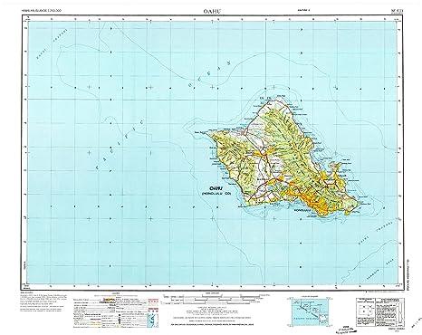 Topographic Map Oahu.Amazon Com Yellowmaps Oahu Hi Topo Map 1 250000 Scale 1 X 2