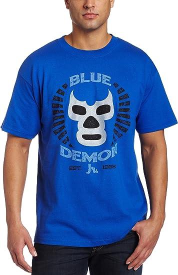 LUCHADOR BLUE DEMON Kids Boys T-Shirt Wrestling Wrestler Mexican Mexico Mask