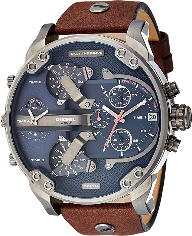 1c00bfc9f Diesel Men's Mr Daddy 2.0 Quartz Stainless Steel and Leather Chronograph  Watch, Color: Grey