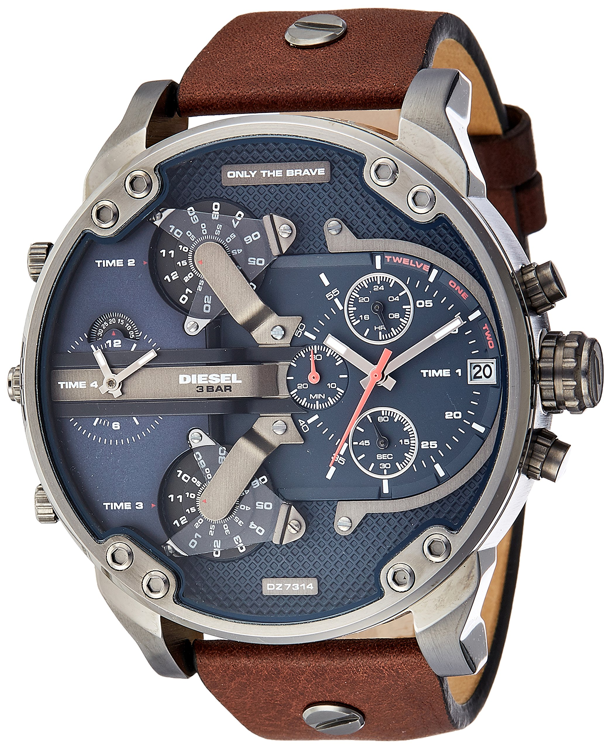 Diesel Men's Mr Daddy 2.0 Quartz Stainless Steel and Leather Chronograph Watch, Color: Grey, Brown (Model: DZ7314) by Diesel