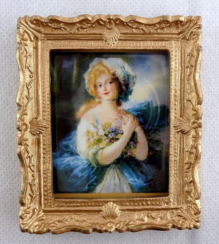 最高 Dolls House Miniature House Accessory Frame Blue Miniature Lady Picture Painting Gold Frame B01CU73I9K, 西方町:56cbe22c --- diceanalytics.pk