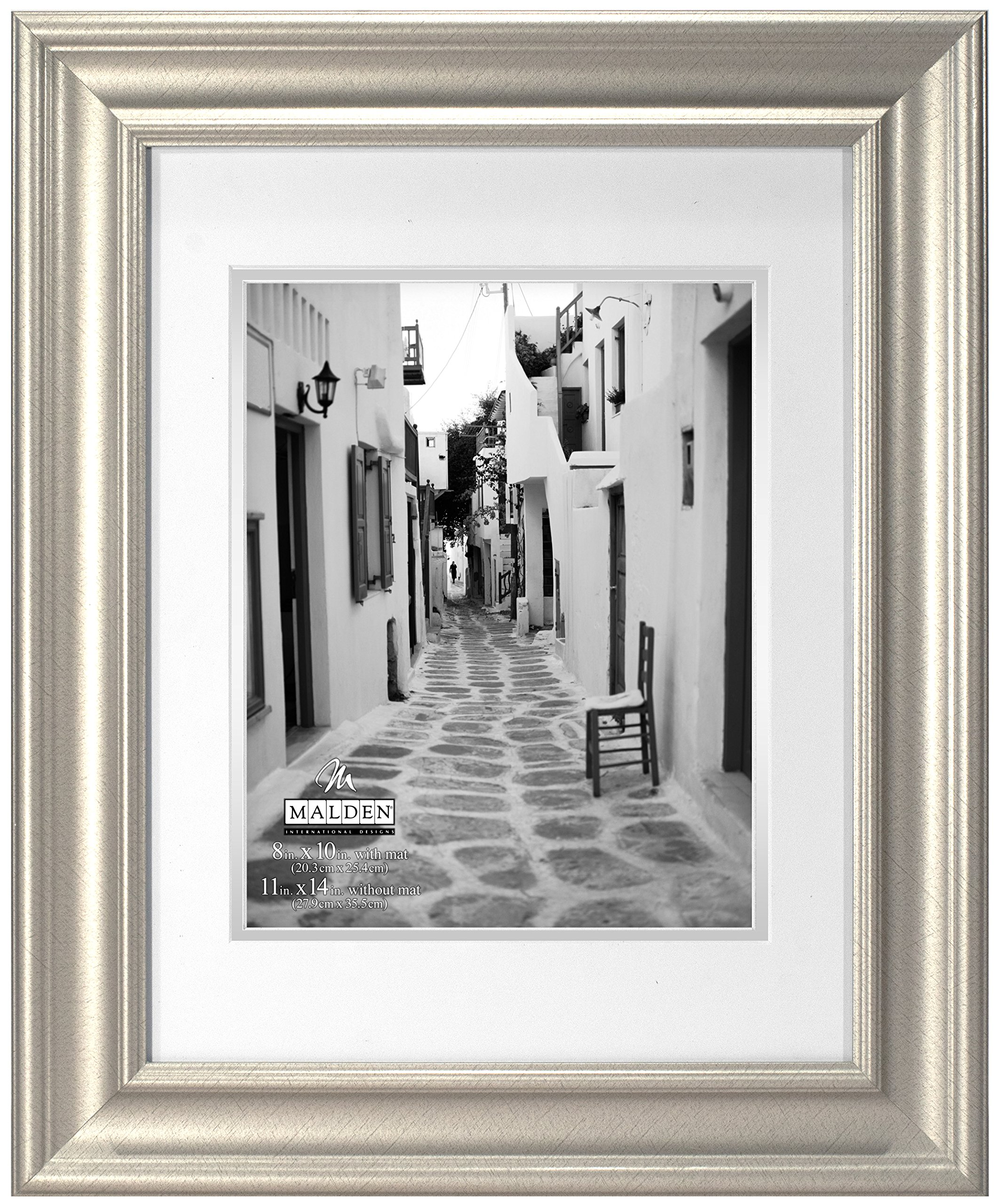 Malden International Designs Classic Wall Mouldings Eaton Double Matted Picture Frame, 8x10/11x14, Silver by Malden International Designs