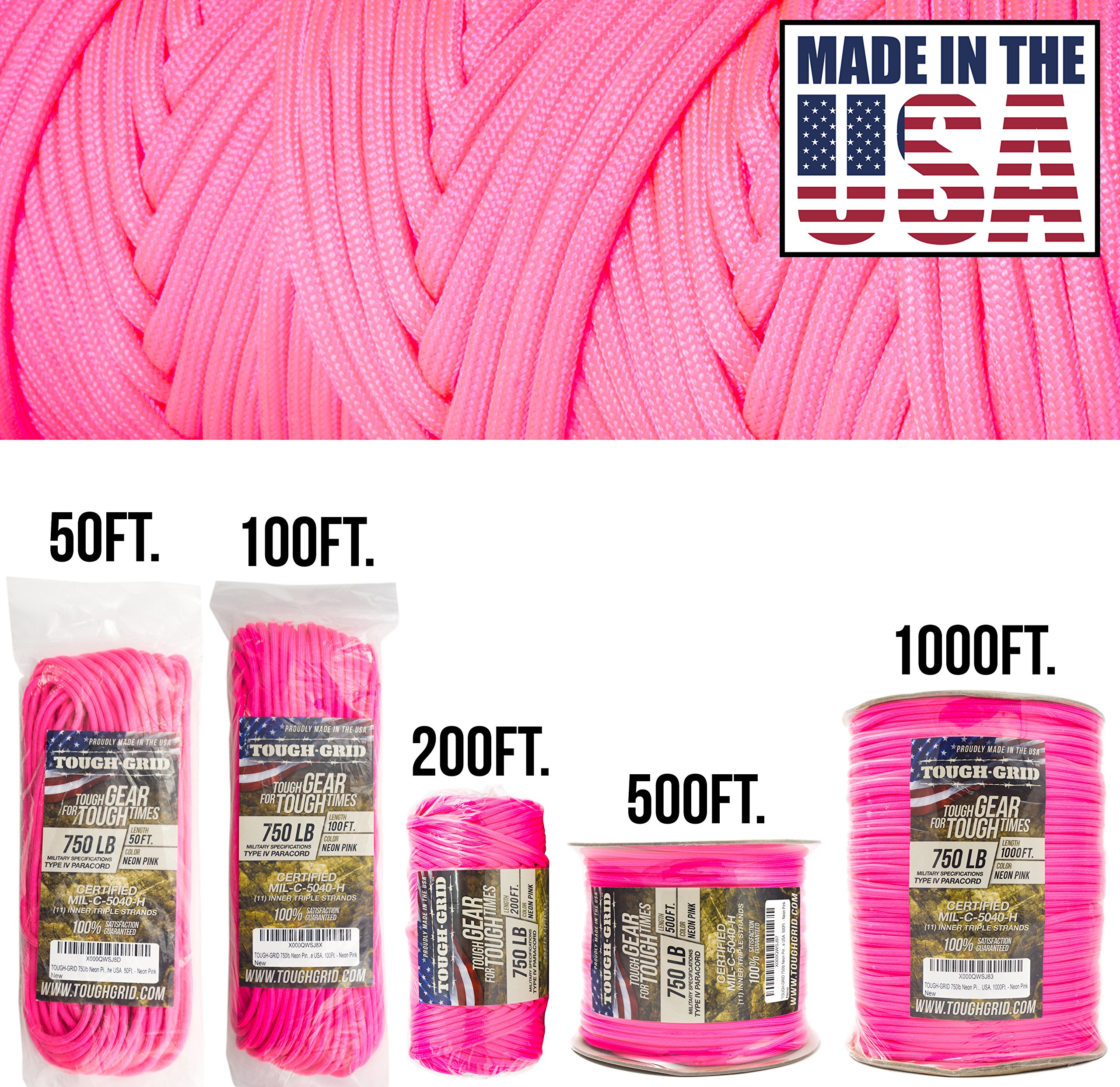 TOUGH-GRID 750lb Paracord Parachute Cord - Genuine Mil Spec Type IV 750lb  Paracord Used by The US Military (MIl-C-5040-H) - 100% Nylon - Made in The  USA. 8498ec7721271