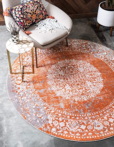 Unique Loom New Classical Collection Traditional Distressed Vintage Classic Terracotta Round Rug 8 0 x 8 0