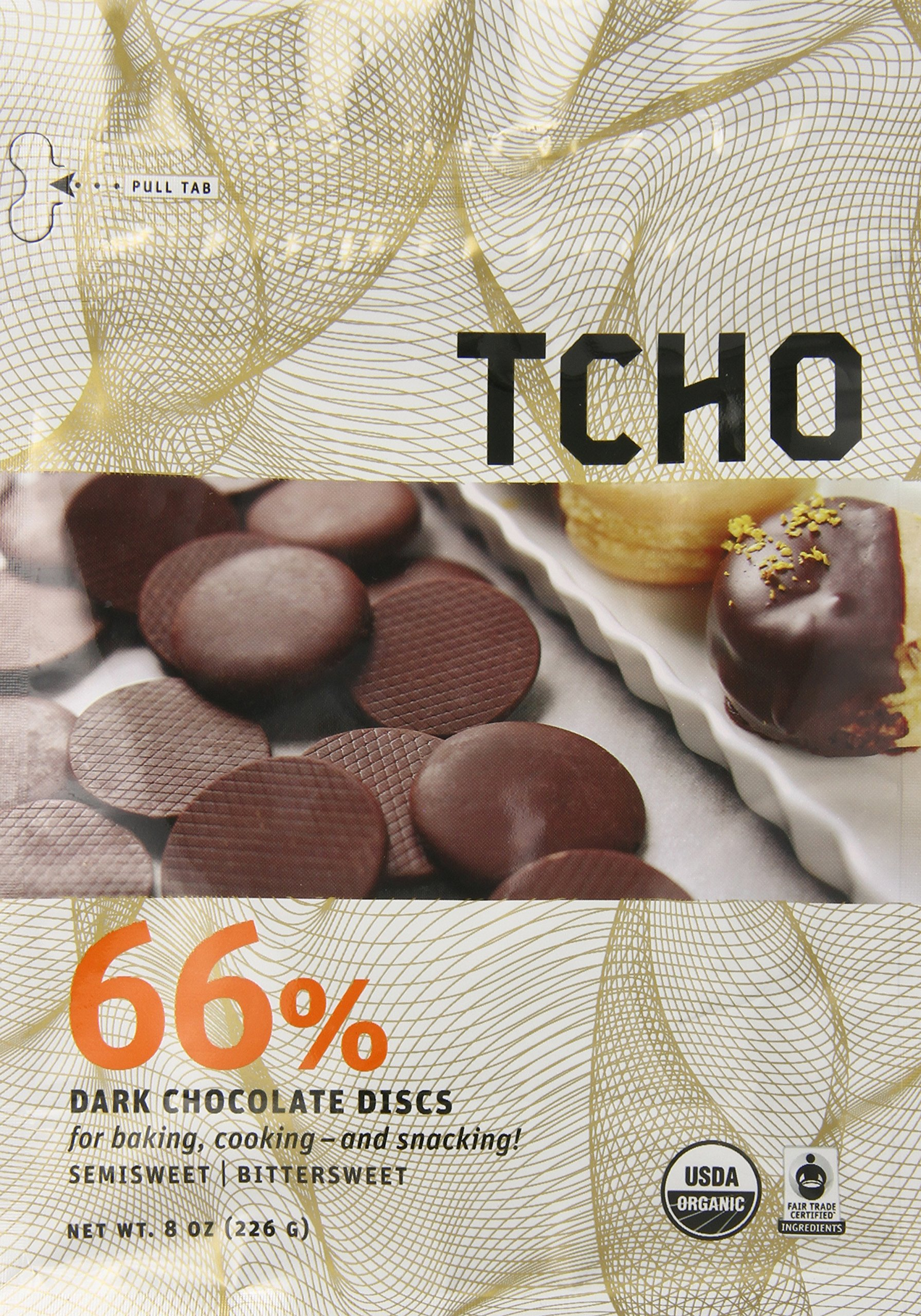 TCHO Chocolate 66% Dark Chocolate Discs, 8 Ounce