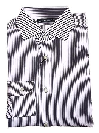 9114f9bbb8753 Ralph Lauren Polo Black Label Mens Dress Shirt White Purple Pinstripe Italy  14.5
