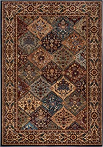 Rizzy Home Bellevue Collection Polypropylene Area Rug, Khaki/Burgundy/Blue Border