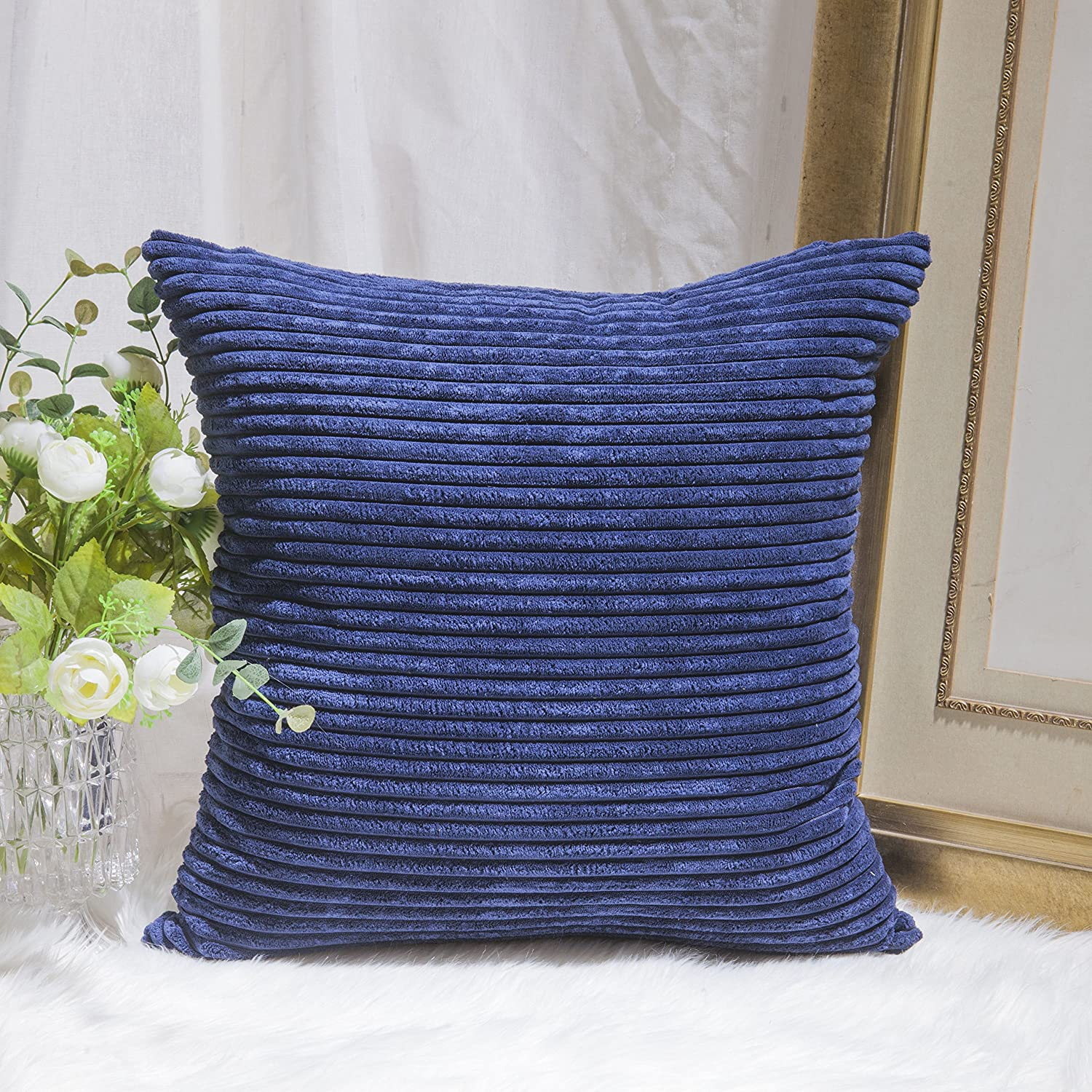 Home Brilliant Decor Supersoft Striped Textured Velvet Corduroy Decorative Throw Toss Pillowcase Cushion Cover for Chair, Navy Blue, (45x45 cm, 18inch)