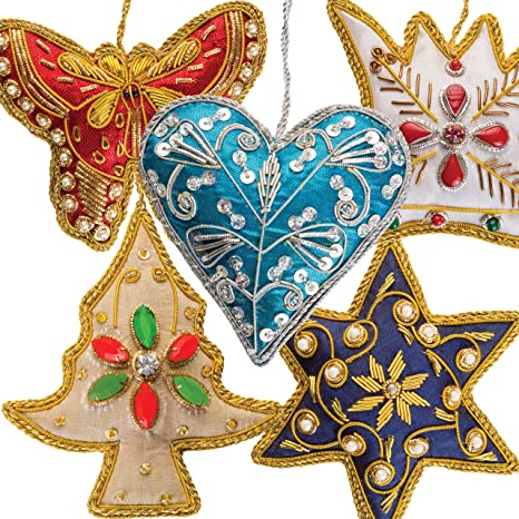 Amazon Com Luxury Christmas Tree Ornaments Handmade Decorations Set Of 5 Beaded Embroidered Pearl Hanging Fabric Napkin Ring Hand Stitched Holiday Present Idea Xmas Stocking Decor Star Heart Crown Butterfly Kitchen Dining