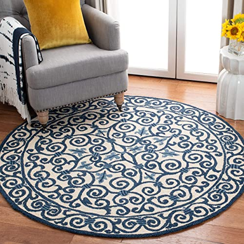 Safavieh Chelsea Collection HK11I Hand-Hooked Ivory and Dark Blue Premium Wool Round Area Rug 8' Diameter