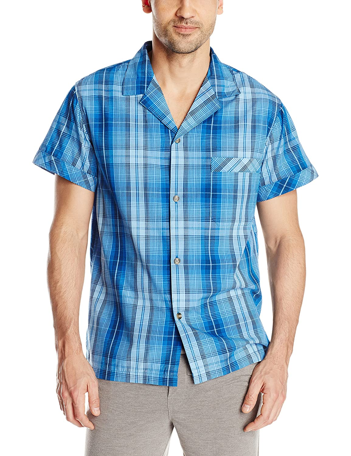 Intimo Men's Yarn Dye 0374 Plaid Woven Sleep Top Siberian Sky Large Intimo Men's Sleepwear 019387