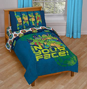 teenage mutant ninja turtles in your face 4 piece microfiber toddler - Ninja Turtles Toddler Bedding Set