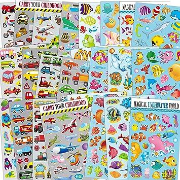 Sinceroduct ¡Sticker Collection Transportation & Sea World Pegatinas para los niños, Total en 24 Hojas, con Peces, Tiburones, Estrellas de mar, Tiburones, Coche, avión, Tren, Coche de policía: Amazon.es: Juguetes y juegos