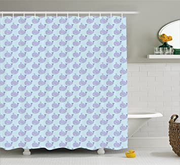 Whale Shower Curtain By Ambesonne Cartoon Animal With Smile And Swirled Design Inhabitants Of The