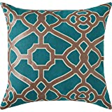 Amazon Brand – Ravenna Home Contemporary Geometric Pattern Throw Pillow - 20 x 20 Inch, Teal and Bronze