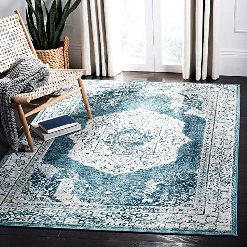 Safavieh Crystal Collection CRS519B Boho Chic Vintage Distressed Area Rug, 5 x 8 , Beige Dark Teal