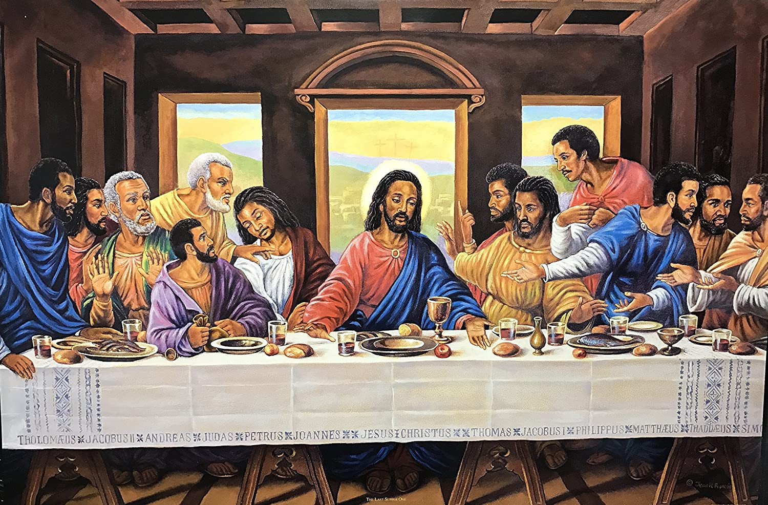 Unframed Print The Last Supper ONE (Religious) Artist Jean R Francois 24x36 Black Art Print Poster African-American