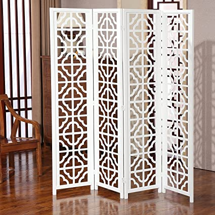 Amazoncom Modern Folding Wood 4 Panel Screen Moroccan Cutout Room