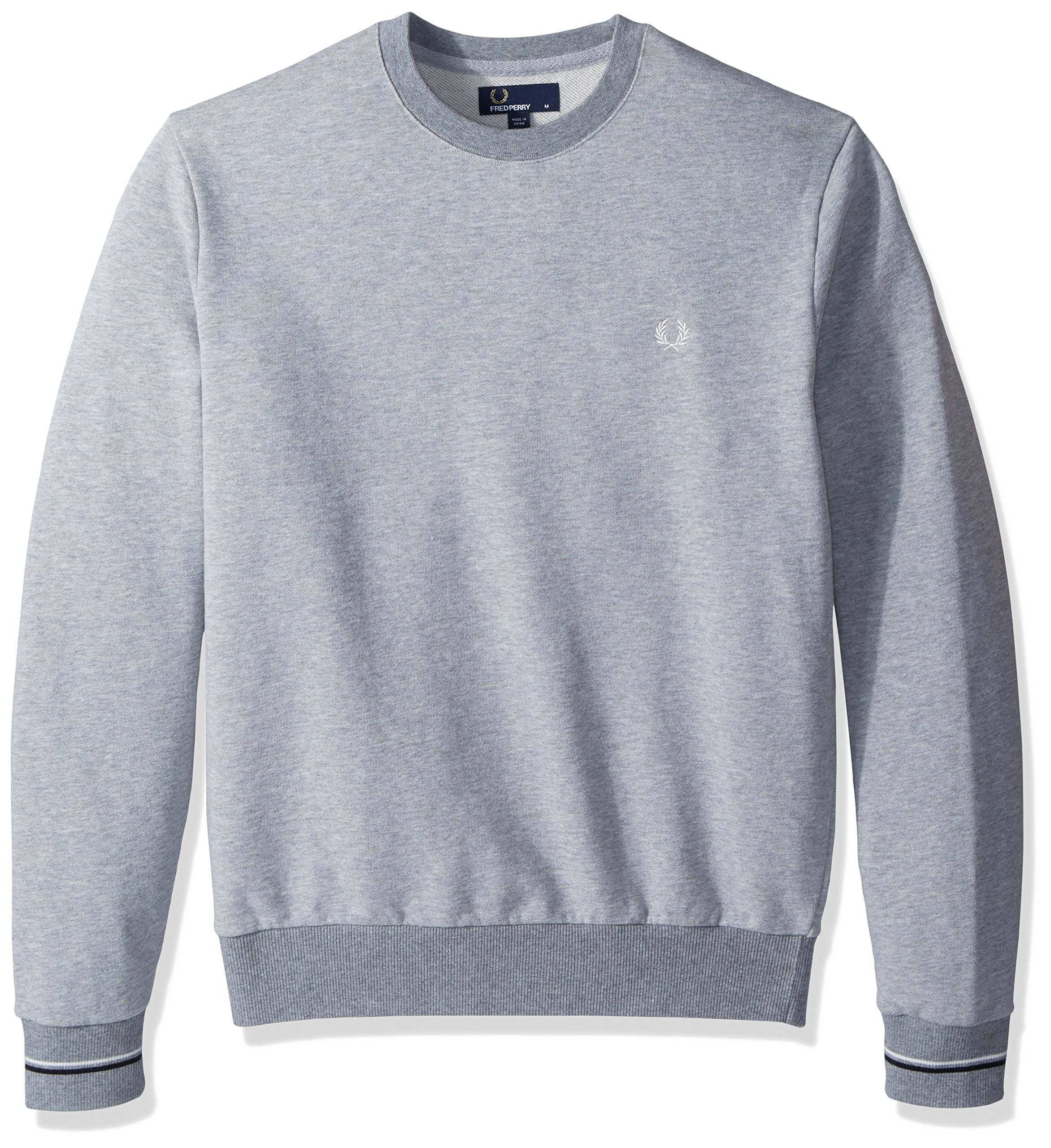 Fred Perry Men's Crew Neck Sweat, Vintage MARL Grey, X-Large