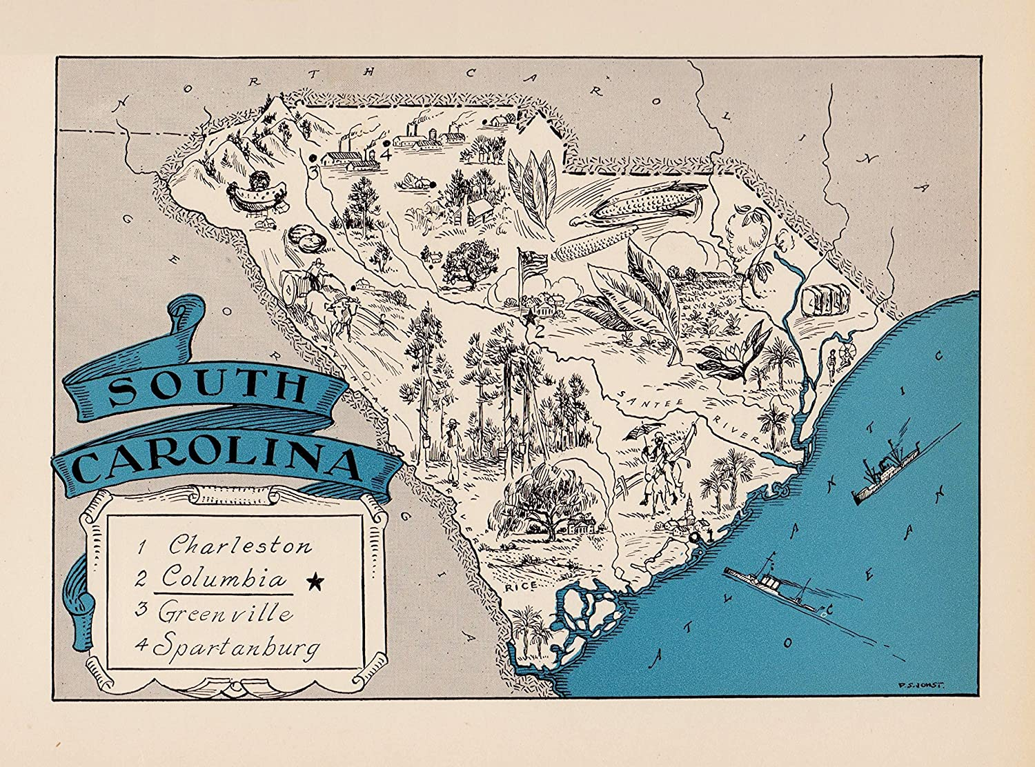 Amazon.com: Vintage South Carolina State Map 1930s Blue Pictorial ...