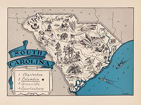 Amazon.com: Vintage South Carolina State Map 1930s Blue ...