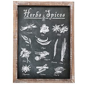"""Barnyard Designs Vintage Herb and Spices Chalkboard Art Wood Framed Plaques, Primitive Country Farmhouse Home Decor Sign 16"""" x 12"""""""