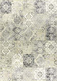 product image for Maples Rugs Vintage Patchwork Distressed 7 x 10 Non Slip Large Rug [Made in USA] for Living, Bedroom, and Dining Room, Grey