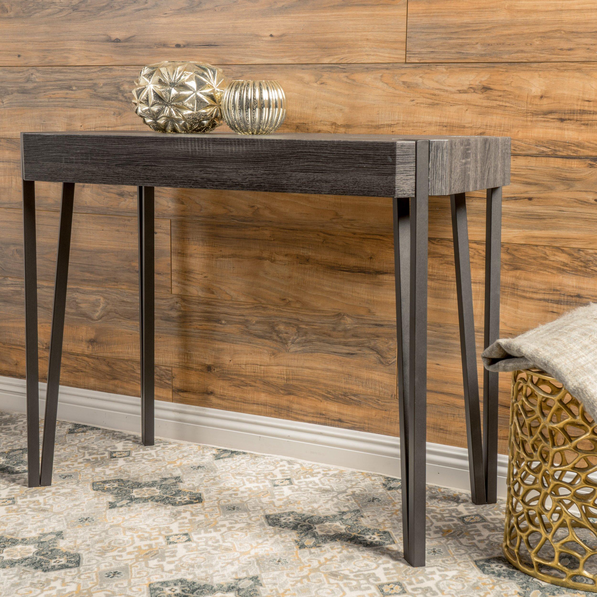 Christopher Knight Home 298288 Vidar Laminated Wood Console Table, Black by Christopher Knight Home