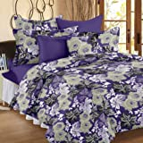 Ahmedabad Cotton Floral 136 TC Cotton Double Bedsheet with 2 Pillow Covers - Floral, Purple