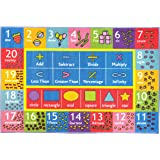 """KC CUBS Playtime Collection Math Symbols, Numbers and Shapes Educational Learning Area Rug Carpet For Kids and Children Bedroom and Playroom (3' 3"""" x 4' 7"""")"""