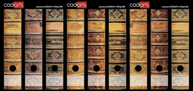 codiarts Set 9pezzi larghezza Etichette per raccoglitori–vecchi libri in pelle volumi Vintage–autoadesivo (raccoglitori di Sticker) codiarts.